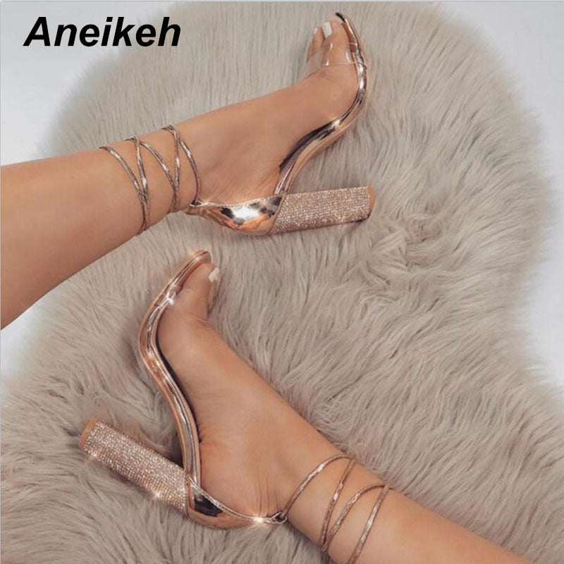 Aneekah Women High Heels Sandals Summer Square Crystal Heeled Platform Shoes Ladies Sexy Party Wedding Lace Up - Xodeys.com