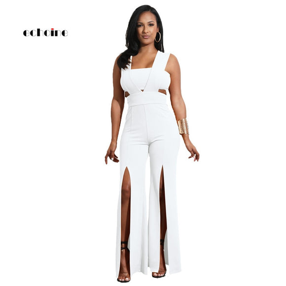 Echoine Women Jumpsuit Sexy Strapless Sleeveless Zipper Backless Long Wide Leg Pants High Split Loose Rompers Elegant Outerwear