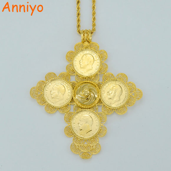 Anniyo Ethiopia Big Coin Pendant Necklaces Women Gold Color Jewelry Africa Crosses Ethiopian Cross Eritrea 058702 - Xodey.com