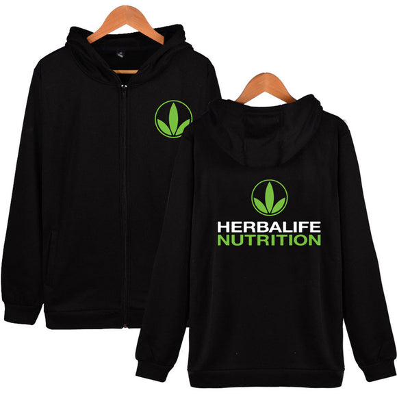 Men's Herbalife Zip Up Hoodie Herbalife Nutrition Zipper Coat Hoodie Green Logo Herbalife Graphic Zip Up Sweatershirt Blue - Xodey