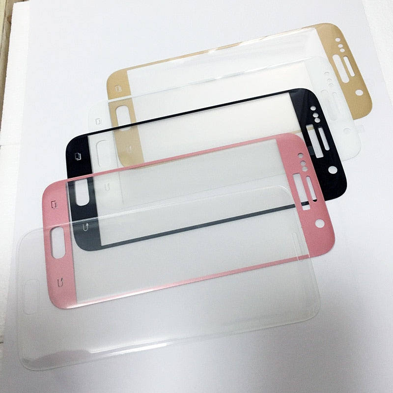 Full Screen Glass For Samsung Galaxy S7 S7 Edge S8 Protector S6 Edge Plus Tempered Pink Blue Silver Gold Clear B W White - Xodeys.com