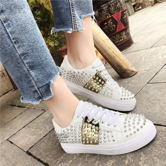 Tangnest 2019 New Rivet Flats Women Platform Sneakers Lace-Up Loafers Cross-tied Round Toe Creepers Lady Fashion Shoes XWD7431 - Xodey