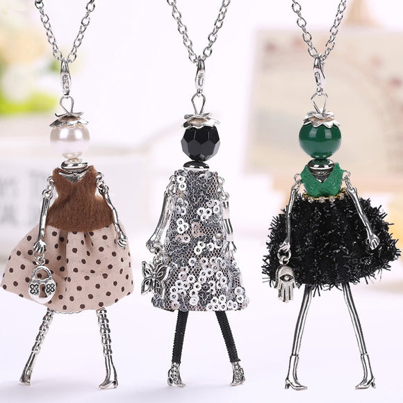 new women doll cute black long necklaces & pendant hot dress baby girls maxi necklace brand fashion statement jewelry - Xodey