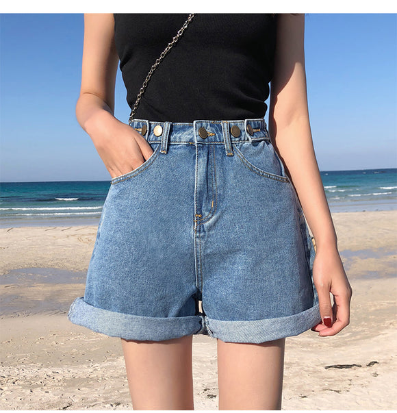 High Waist Blue White Black Wide Leg Women Casual Summer Ladies Short Shorts Jeans For Women Womens Denim Shorts Streetwear