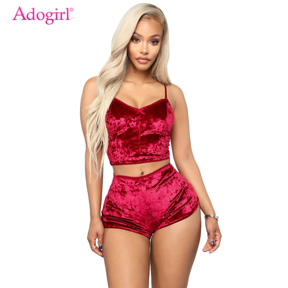 Adogirl Women Velvet Tracksuit Sexy V Neck Spaghetti Straps Crop Top & Shorts Fashion Night Club Suits Two Piece Set Outfits Cotton Polyester - Xodey.com