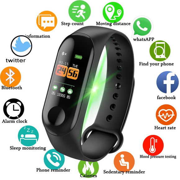Smart Bracelet Watch Heart Rate Blood Pressure Monitor Fitness Tracker Activity Monitor Sports Bracelet Watch Pk Mi Band 3 - Xodey