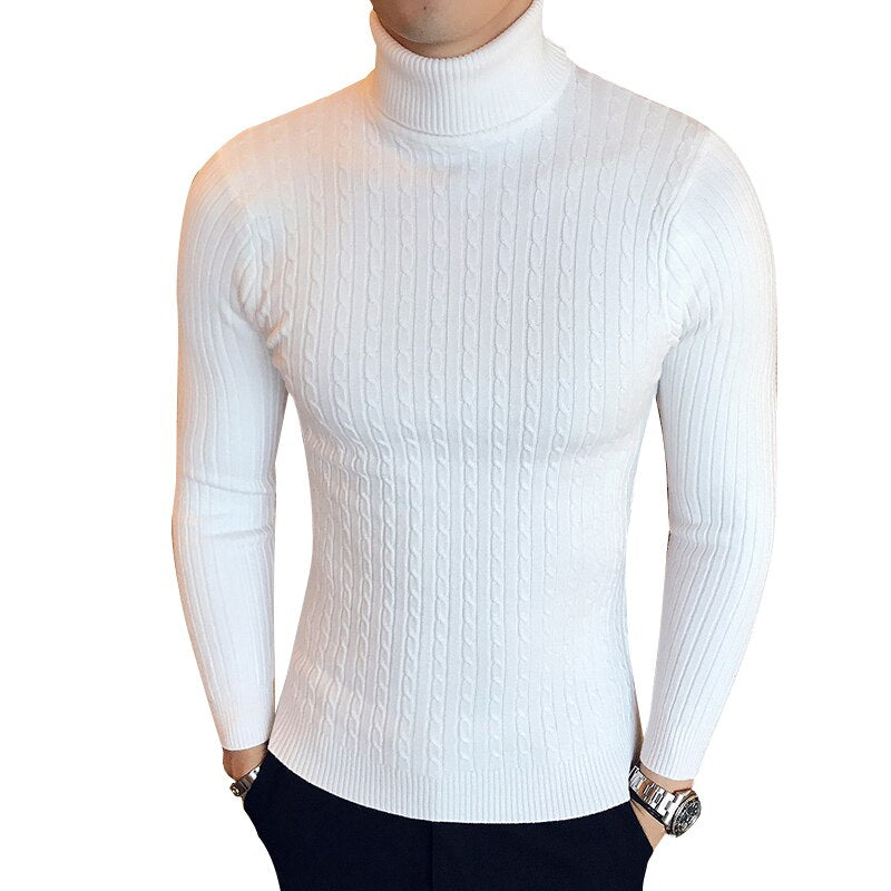 Winter High Neck Thick Warm Sweater Men's Turtleneck Sweaters Slim Fit Pullover Knitwear Double Collar Black - Xodeys.com