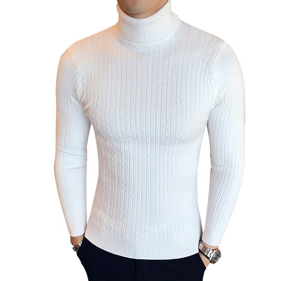 Winter High Neck Thick Warm Sweater Men's Turtleneck Men's Sweaters Slim Fit Pullover Men's Knitwear Double Collar Black - Xodey