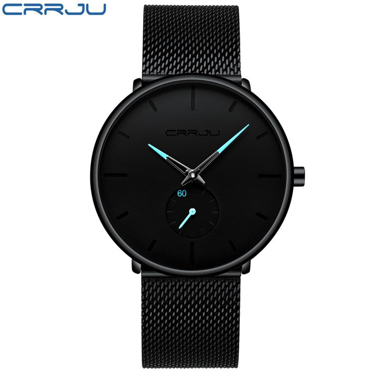 Relã³Gio For Men Crrju Watch Men's Military Quartz Watches Top Luxury Stainless Steel Sports Wristwatch Clock black blue