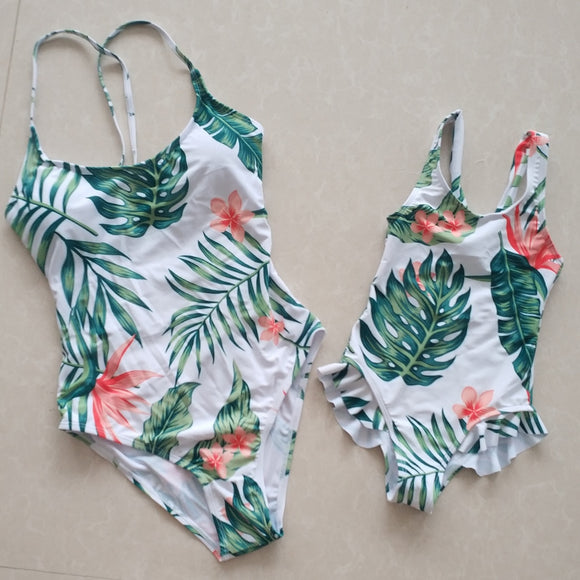 Family Set Mother & Daughter Swimwear Mommy & Me Bikini Swimsuit Matching Outfits Look Clothes Mom Mum Baby Dresses Clothing - Xodey.com