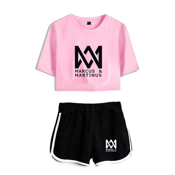 Kpop T-shirt Two Piece Set Summer Printed T Shirt Kpop Album Woman Suit Crop Tops + Shorts Pants Marcus Martinus Tracksuit Women