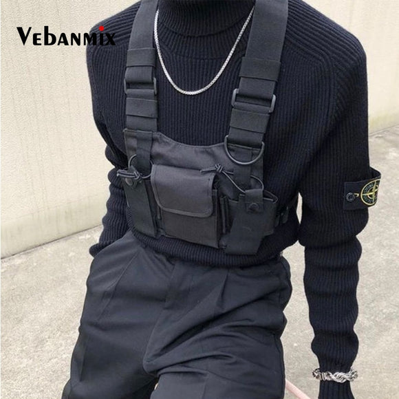 Men's Fashion Nylon Chest Rig Bag Black Vest Hip Hop Streetwear Functional Tactical Harness Chest Rig Kanye West Wist Pack Chest Bag - Xodey.com