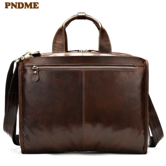 PNDME high quality genuine leather 14 inch laptop briefcase simple retro business handmade cowhide luxury office messenger bags