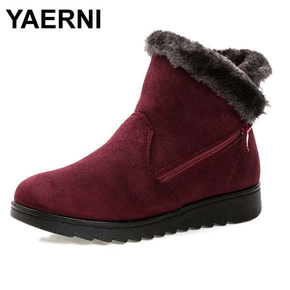 Yaerni Women Ankle Boots Fashion Waterproof Wedge Platform Winter Warm Snow Boots Shoes For Female Brown - Xodey