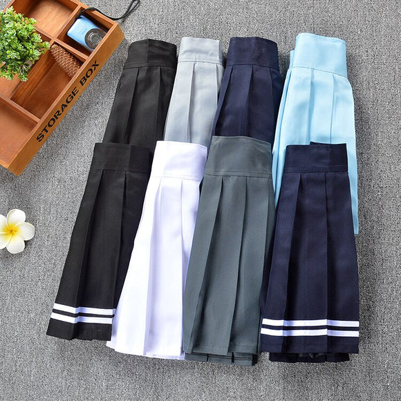 New Women Pleated Skirt with Shorts Schoolgirl Uniform Mini Skirt Solid Color High Waist Skirt with shorts Elastic Band