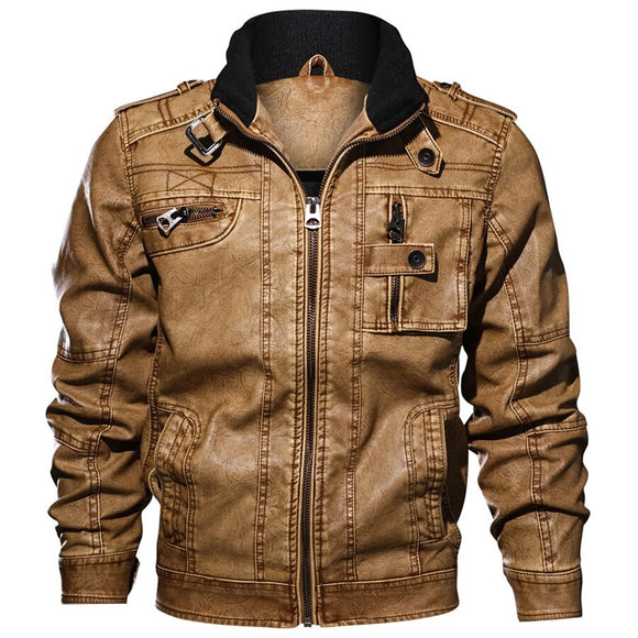 Jackets Men Slim Fit Casual Outwear Bomber Jacket Winderbreaker Pu Motorcycle Leather Jackets Fur Coat - Xodey.com