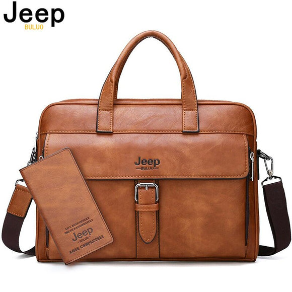 JEEP BULUO New Men's Business Briefcase Bag High Quality Travel Handbag For Man Split Leather 14 inches Laptop Messenger Bags