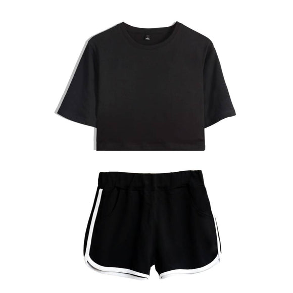 Dropshipping 2019 New Arrivals 2 Piece Set Women Short Sleeve Crop Tops and Shorts Female Two Piece Set Dropship