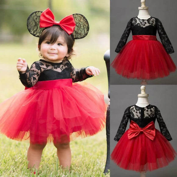XMAS Girls Dress Lace Floral Long Sleeve Ball Gown Princess Dress Kids Baby Big Bow Tulle Tutu Party Kids Dresses