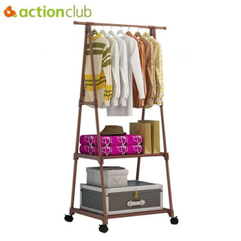 Actionclub Multifunction Triangle Simple Coat Rack Stainless Steel Removable Clothes Hanging Hanger Floor Stand Wheels