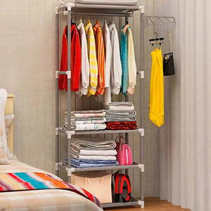Actionclub Simple Metal Iron Coat Rack Floor Standing Clothes Hanging Storage Shelf Hanger Racks Bedroom Furniture