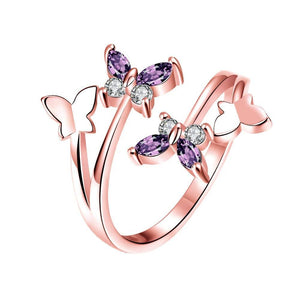 Adjustable Butterfly Crystal Wings Ring For Women Love Jewelry Girls Trendy Wedding Bands Party Finger Rings