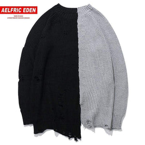 Aelfric Eden Vintage Color Block Patchwork Holes Men Sweaters Hip Hop Casual Pullover Knitted Sweater Streetwear Kj107 Gray