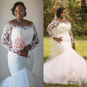 African Plus Size Mermaid Wedding Dresses Lace Illusion Long Sleeves Bridal Gowns Ivory 10