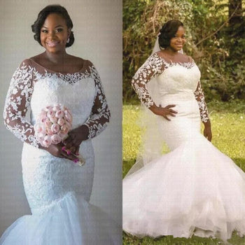 African Plus Size Mermaid Wedding Dresses Lace Illusion Long Sleeves Bridal Gowns