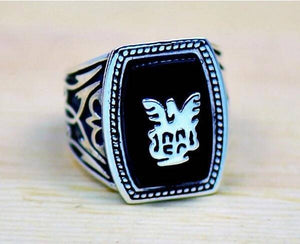 Alaric Ric The Vampire Diaries Revival Black Ring Steampunk Antique Silver Movie Jewelry