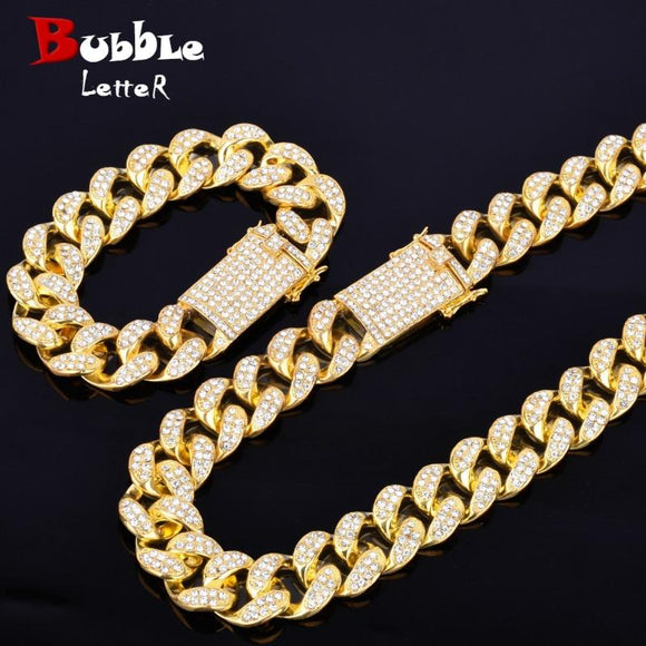 Alloy Crystal Heavy Miami Cuban Chain With Bracelet & Necklace Set Gold Silver 20Mm Big Choker Men's Hip Hop Jewelry 16