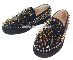 Almudena High End Unisex Rivets Sneakers Punk Stylish Spikes Slip-On Loafers Black Red White Studded Dress Shoes Size 35-45 - [variant_title] - [option1] - [option2] - [option3] - Xodeys.com