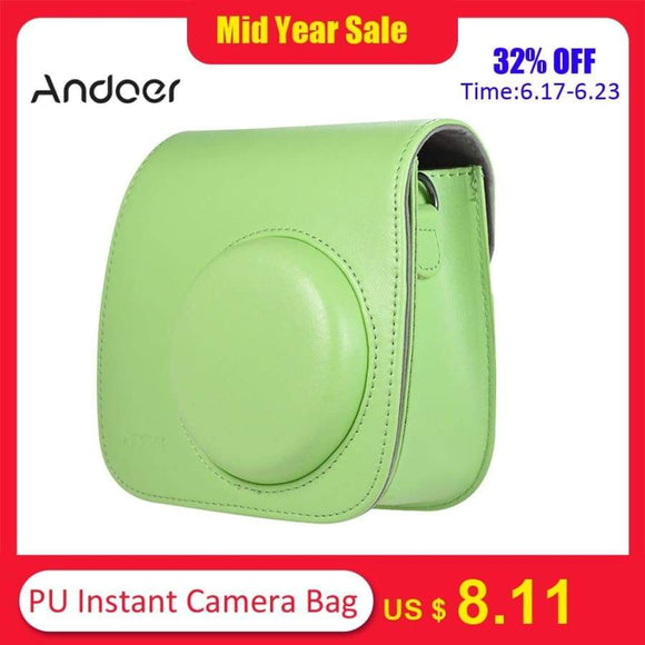 Andoer Pu Instant Camera Bag Case With Strap For Fujifilm Instax Mini 8/9/8+ Flamingo Pink/Blue/White/Green