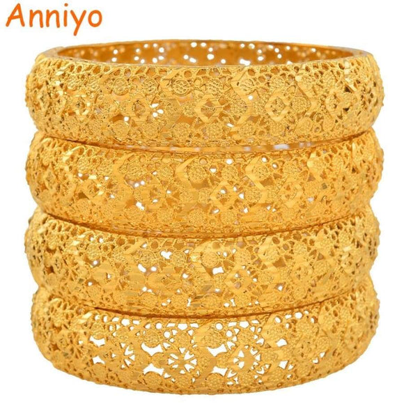 Anniyo 4 Pieces/Lot Gold Color Dubai Bangles For Women Ethiopian Bracelets Middle East Wedding Jewelry Africans #139006
