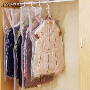 Asfull Can Hang Compression Bag Vacuum For Foldable Clothes Transparent Edge Sealed Bags To Save Organizer Space