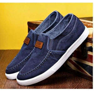 Autumn Non-Leather Casual Shoes Canvas Rubber Men Breathable Gumshoe Designer Footwear Denim Plimsolls Gray Blue