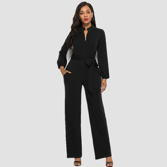 Bandage Button V Neck Wide Leg Jumpsuit Long Sleeve Plus Size Rompers Sexy Overalls Women One Piece Outfit Autumn Black Red S20