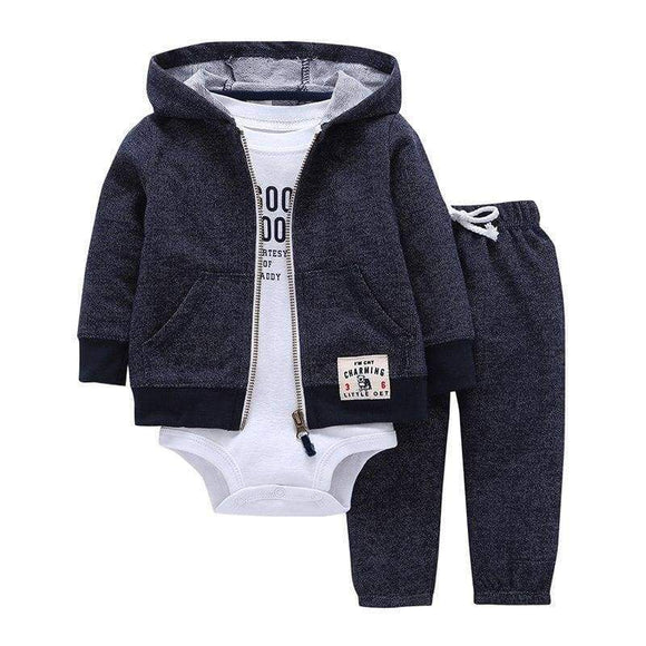 Bebes Baby Boy Girls Clothes Set Bodys Cotton Hooded Cardigan & Trousers Body 3 Piece Newborn Clothing