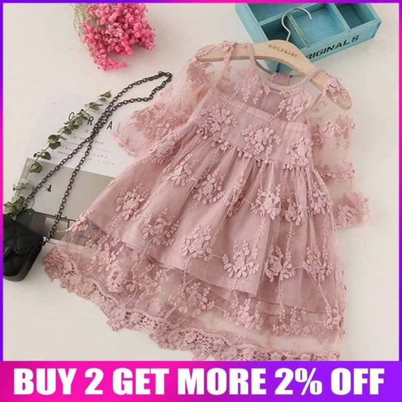 Bibicola Summer Girl Clothes Kids Dresses For Girls Lace Flower Dress Baby Party Wedding Children Princess