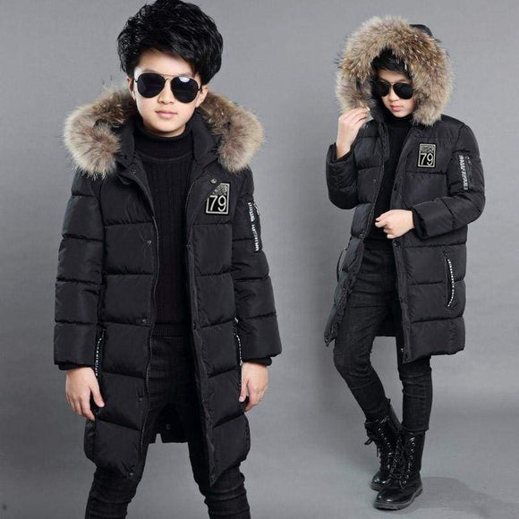 Big Boys Jackets Parka Teen Outerwear Children Winter For Height 110-170 Down Coats Warm Kids Baby Thick Cotton Orange Black 10