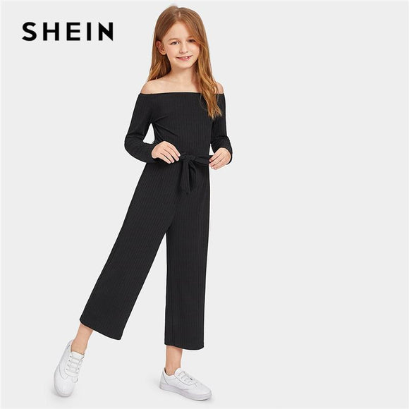 Black Kiddie Off the Shoulder Self Belted Rib Knit Girls Jumpsuit Spring Long Sleeve Casual Jumpsuits For Kids Girls