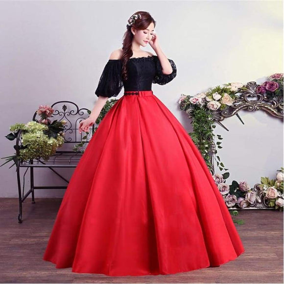 Black Red Contrast Color Boat Neck Short Sleeves Ball Gown Wedding Dresses Floor Length Bride Frocks