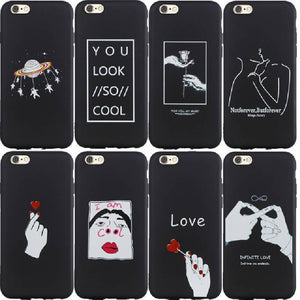Black Soft Case for iphone XS MAX 7 8 6 6S Plus X 10 XR 5 5S SE Art Plating Love Heart TPU Matte Cover