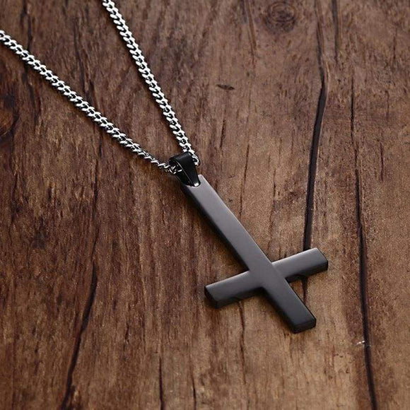 Black St Peter's Inverted Cross Pendant Necklace For Men Stainless Steel Choker Crux De Sanctus Petrus Jewelry Gold