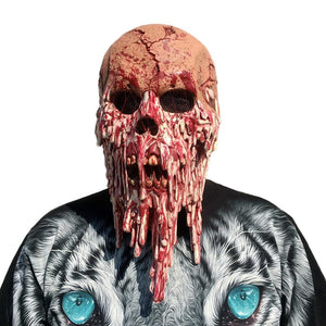 Bloody Zombie Mask Melting Face Adult Latex Costume Walking Dead Halloween Scary 1A7 (Red)
