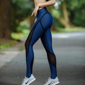 Blue & Black Patchwork Women's Mesh Leggings Sexy Push Up Slim Jeggings High Elastic Waist Breathable Fitness Cotton Polyester