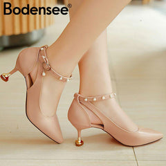 Bodensee Pumps 3-5 Cm Mid Heel Classic Sexy Pointed Toe Kitten Heels Shoes Spring Loafers Sandals Wedding Dx1 - [variant_title] - [option1] - [option2] - [option3] - Xodeys.com