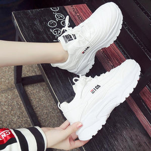 Bomlight Women Walking Shoes Sneakers Cushioning Platform Woman Chunky Trainers Ladies Big Size 40