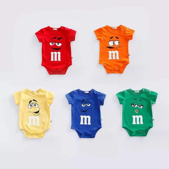 Born Baby M&M's Character Cotton Jumpsuits