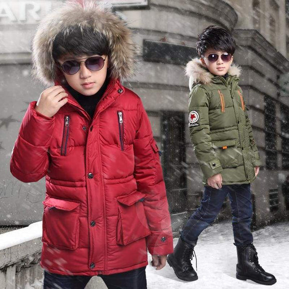Boys Down Jackets Winter Jacket For Warm Hooded Outerwear Coat Kids Parkas Clothes Children 10 12 Year Cotton Polyester Black 10
